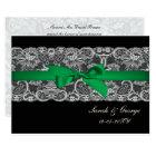 Faux lace  ribbon emerald green   wedding invites