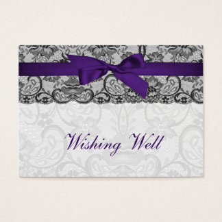 Faux lace ribbon purple black wishing well cards