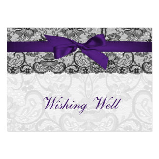 Faux lace ribbon purple black wishing well cards pack of chubby business cards