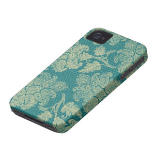faux lace teal and cream floral damask pattern iPhone 4 case