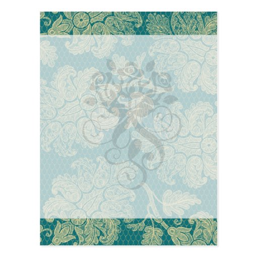 faux lace teal and cream floral damask pattern postcard