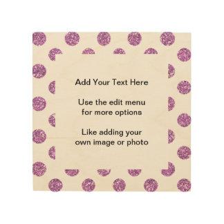 Faux Lavender Glitter Polka Dots Pattern on White Wood Print