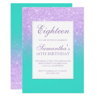 Faux lavender glitter turquoise chic eighteen card