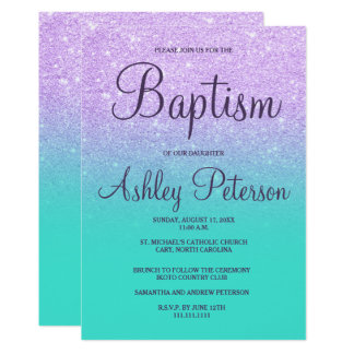 Faux lavender glitter turquoise mermaid baptism card