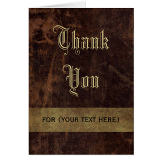Faux Leather Brown Gold Executive Thank You Custom Greeting Card
