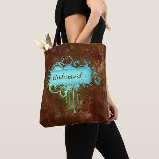 Faux Leather Copper Blue Glitter Frame Tote Bag