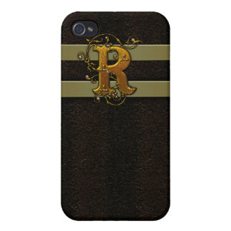 Faux Leather Monogram R  Case For iPhone 4