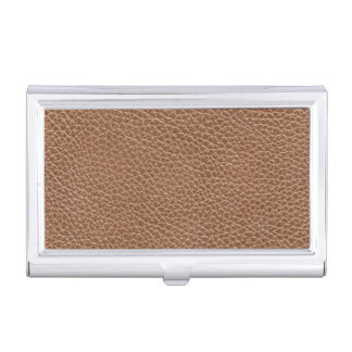 Faux Leather Natural Brown Business Card Holder