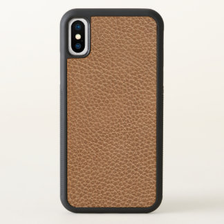 Faux Leather Natural Brown iPhone X Case