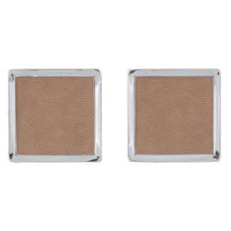 Faux Leather Natural Brown Silver Finish Cufflinks