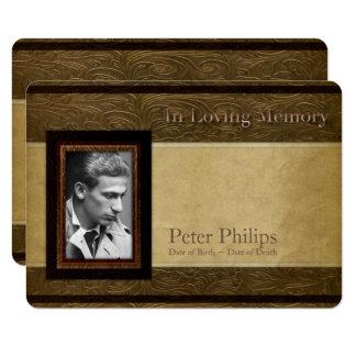 Faux leather parchment Photo Memorial Service 11 Cm X 16 Cm Invitation Card