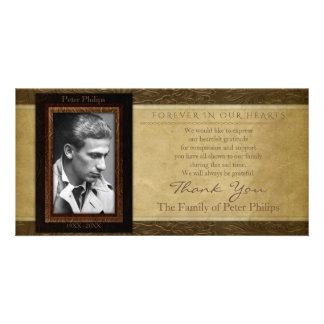 Faux leather parchment Photo Sympathy Thank You Custom Photo Card
