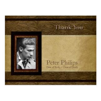 Faux leather parchment Photo Sympathy Thank You P Postcard