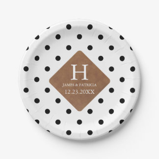 Faux Leather Patch on Chic Black Dots Monogram 7 Inch Paper Plate