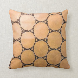 Faux Leather Stitched Circles Throw Pillow