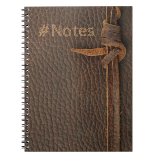 Faux Leather Texture with Knotted Rope - Notebook