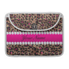 Faux Leopard Hot Pink Rose Gold Foil and Diamonds Sleeve For MacBook Pro