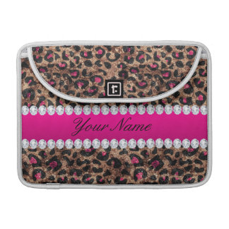 Faux Leopard Hot Pink Rose Gold Foil and Diamonds Sleeve For MacBooks