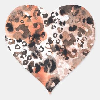 Faux Leopard Watercolour Heart Sticker