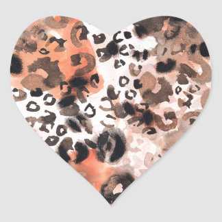 Faux Leopard Watercolour Heart Stickers