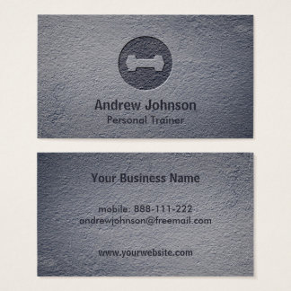 Faux Letterpress Dumbbell Weights Fitness Trainers Business Card