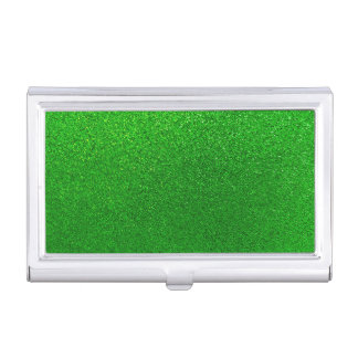 Faux Lime Green Glitter Background Sparkle Business Card Holder