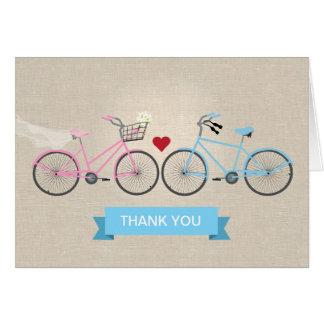 Faux Linen Bicycles Wedding Thank You Card