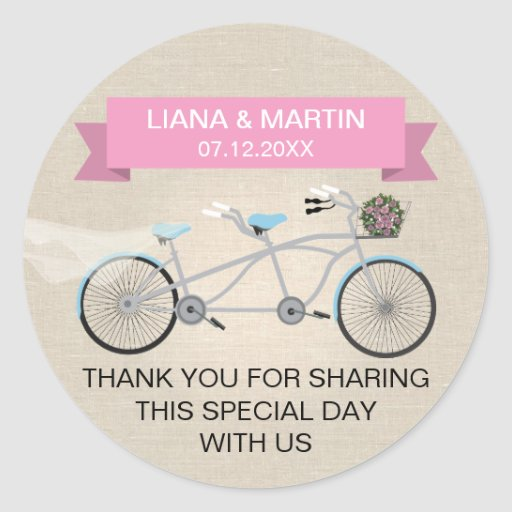 Faux Linen Pink Tandem Bicycle Wedding Stickers