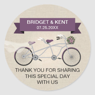 Faux Linen Plum Tandem Bicycle Wedding Classic Round Sticker