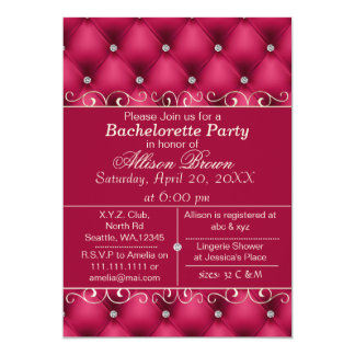 FAUX luxury leather pink bachelorette party invite