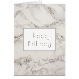 Faux Marble Alabaster in Taupe Happy Birthday Card