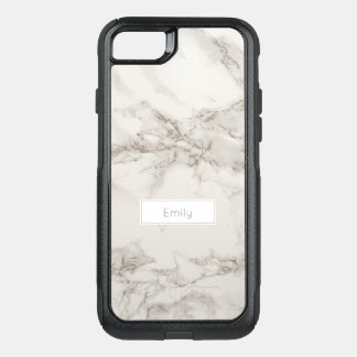 Faux Marble Alabaster Taupe Modern Personalized OtterBox Commuter iPhone 8/7 Case