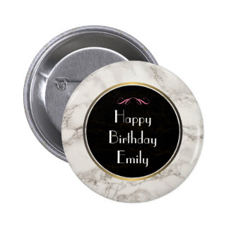 Faux Marble Alabaster Taupe Tan Happy Birthday 6 Cm Round Badge