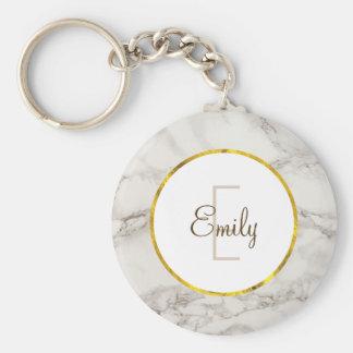 Faux Marble Alabaster Taupe Tan Modern Custom Basic Round Button Key Ring
