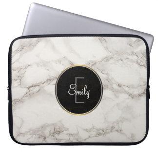 Faux Marble Alabaster Taupe Tan Modern Custom Laptop Sleeve