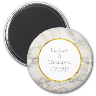 Faux Marble Alabaster Taupe Tan Modern Wedding 6 Cm Round Magnet