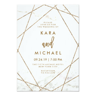 Faux Marble and Copper Geometric Wedding Invite