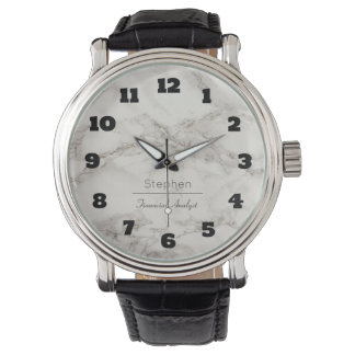 Faux Marble in Taupe Personalized Watch