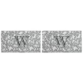 Faux Marble Monogram Custom Pillow Case Set
