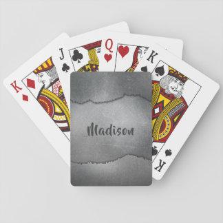 Faux Metal custom name playing cards