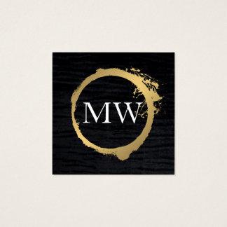 Faux Metallic Gold Velvet Black with Monogram Square Business Card