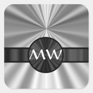 Faux metallic monogram square sticker