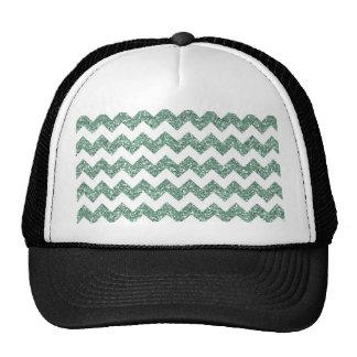 Faux Mint Glitter Chevron Pattern White Solid Hat