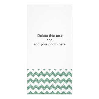 Faux Mint Glitter Chevron Pattern White Solid Picture Card