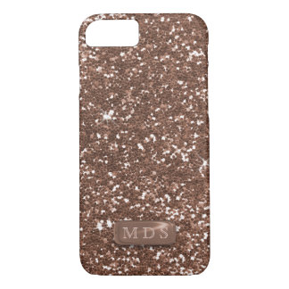 Faux Monogram Rose Gold Glitter iPhone 8/7 Case