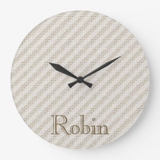 Faux Natural Striped Burlap Personalized Large Clock