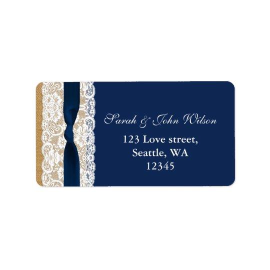 FAUX navy blue lace, burlap ,return address label