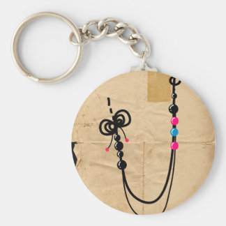 Faux Necklace Basic Round Button Key Ring