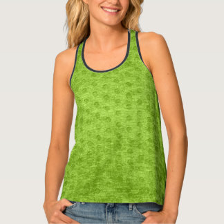 Faux Nubby Texture Printed Green Background Singlet