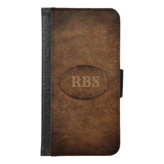 Faux Old World Vignette Leather Monogram Samsung Galaxy S6 Wallet Case